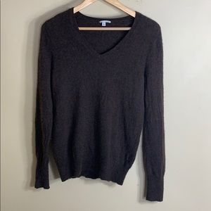 Halogen dark brown v neck cashmere sweater